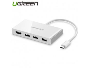 Cáp chuyển đổi USB Type C sang HUB 3.0 và HDMI Ugreen 40374 - 40374